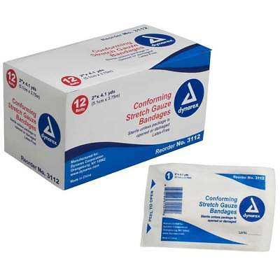 (Dynarex Stretch Gauze Bandage Roll Non-sterile Multiple Widths For Your Needs)