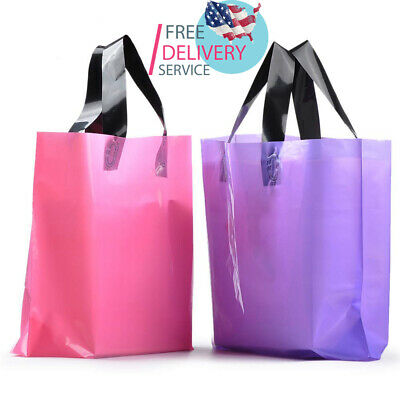 100PCS Frosted Plastic Gift Bags Large Retail Clothing Grocery Boutique Shopping ()