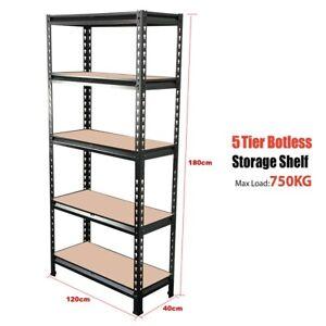 180X120X40CM 5-Tier Boltless Storage Shelves Rivet Rack Shelf 150kg