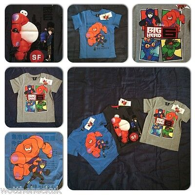 Disney Big Hero 6 Movie Boys T Shirt Tee Baymax Hiro Hamada Top Tshirt Six Kids