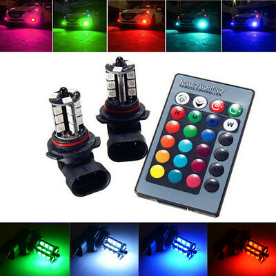 2x RGB Remote Wireless 9006 HB4 9012 27-SMD LED Bulbs For Driving DRL Fog Lights