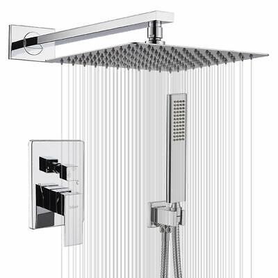 Rain Shower System 8 inch Shower Head Bathroom Luxury Chrome Shower Faucet Set  Chrome Wall Mounted Bathroom Faucet