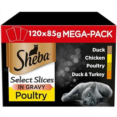 120 x 85g Sheba Select Adult Wet Cat Food Pouches Mixed Poultry in Gravy
