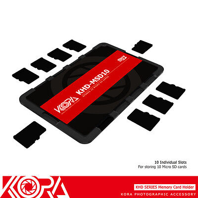 KORA Ultra Slim Credit Card size Memory Card Holder fits 10 Micro SD MSD Cards Ultra Slim Microsd