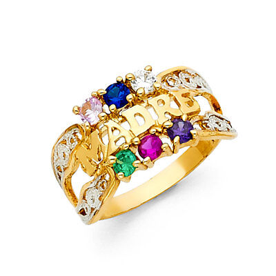 Ladies 14k Yellow Real Gold CZ Gem Birthstone Mothers Day Madre Mom Ring -
