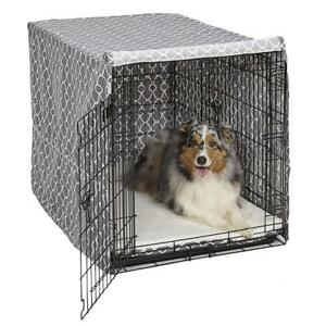 NEW Midwest Homes for Pets CVR42T-GY Dog Crate Cover, Gray Geometric Pattern, 42 Condition: New