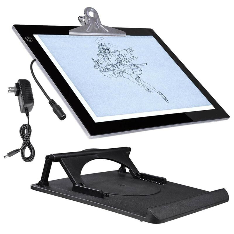"14"" LED Artist Stencil Board Tattoo Drawing Tracing Table Light Pad with Cliper"