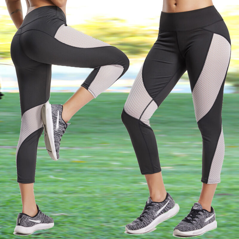 Womens Capri YOGA Pants Pockets Run Gym Sport Fitness Cropped Leggings Workout 18