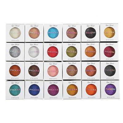 24 Color PHOERA Glitter Shimmering Colors Eyeshadow Metallic Eye Cosmetic Charm