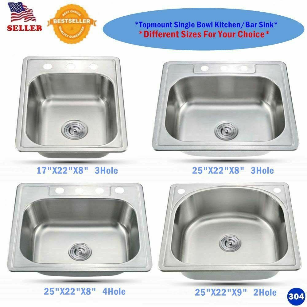 Stainless Steel Topmount Single Bowl Kitchen/Bar Sink Variet