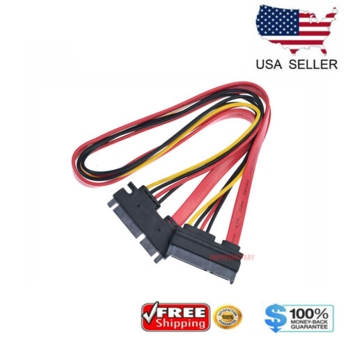 "15+7 Pin SATA HDD Extension Cable Data & Power Male to Female - 19"" / 50CM USA"