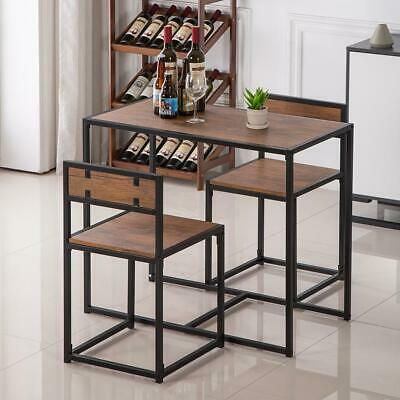 Hot 3 PCS Dining Table And Chairs Breakfast Kitchen Room Small Furniture Set