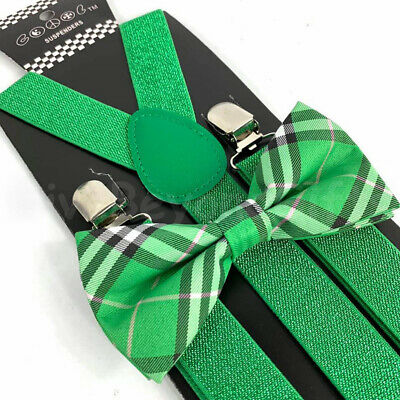 Suspender and Bow Tie Adults Men Green Glitter Plaid Formal Wear Accessories - Sparkle Suspenders