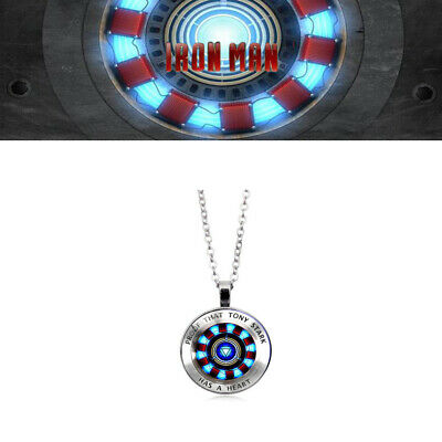 US! Iron man Tony Stark Arc Reactor Necklace Black Glass Cabochon Pendant Gift