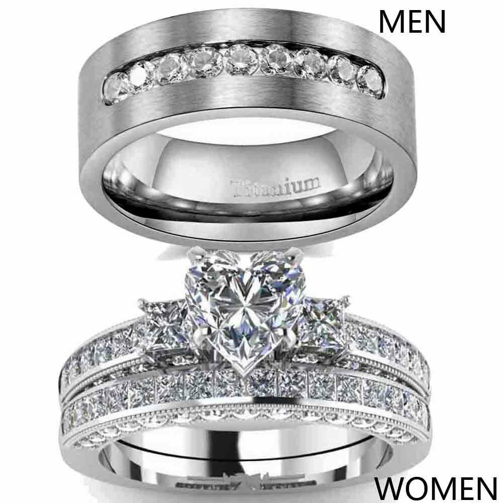 Couple Rings Titanium Steel Mens Wedding Bands Heart CZ Wome