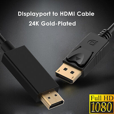 6FT 24K Gold-Plated Displayport To HDMI Cable Male TO Male Cord Wire Audio Video ()