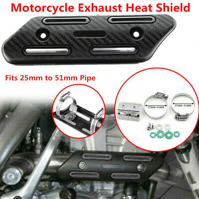 Motorcycle Bike 25-51mm Exhaust Pipe Carbon Fibre Cover Protector Heat Resistant