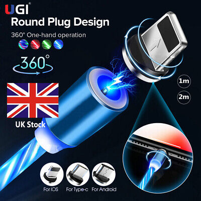 UK LED Flowing Light Up Magnetic Fast Charger Cable For Micro USB Samsung iPhone
