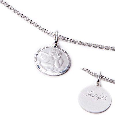 Schutzengel Kinderkette echt Silber Kette Anhänger inkl. Wunschgravur Taufe NEU