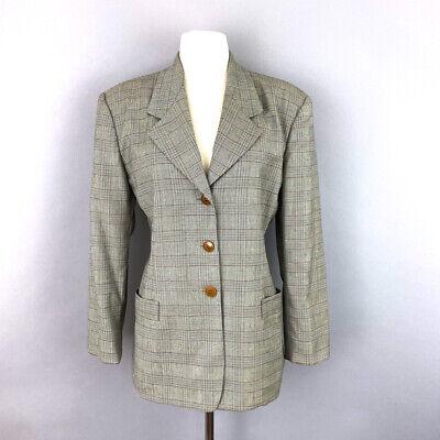 Vtg 90s JIL SANDER wool glen check plaid button jacket blazer women sz 38 US 4
