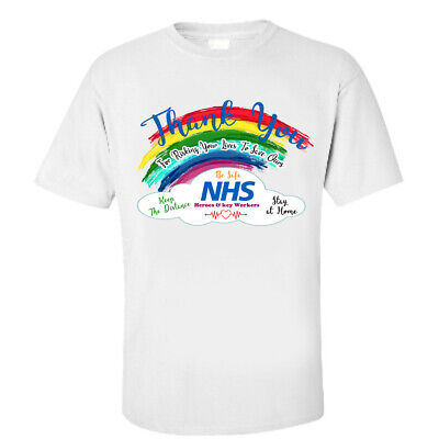 Thank You NHS T Shirts Heroes &Key Workers Nurse Doctor Rainbow Corona Stay Safe