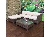 Homeflair Rattan Garden Furniture Suzie Brushed Brown corner sofa + Dining table + stool set £499