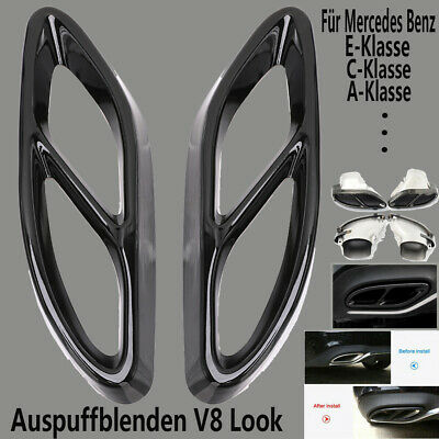 Für Mercedes A B C E-Klasse Auspuffblende Auspuff Rahmen Abdeckung Metall Chrom