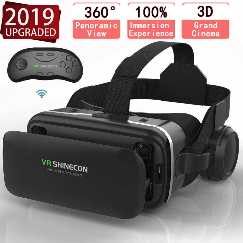 Virtual Reality Glasses 3D VR BOX with Headset Remote Control for Android iPhone