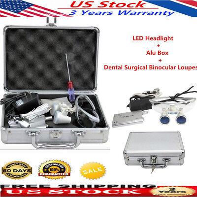 3.5x Medical Dental Surgical Binocular Loupes Glass With Led Headlight Alu Box