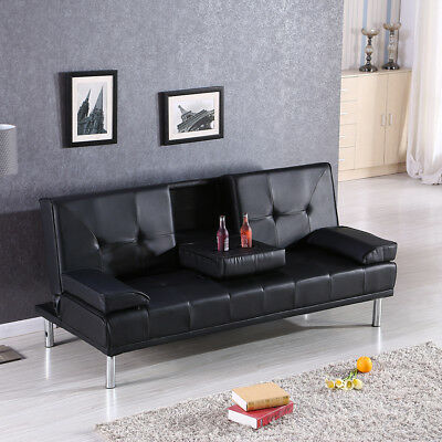 Contemporary Black Luxury Style Fold Up Down Recliner Sofa Bed with Cup Holders