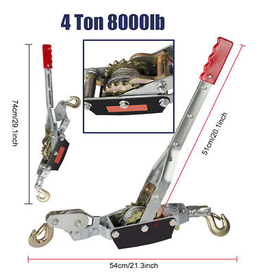 4 Ton 8000lbs Hook Come A Long Winch Hoist Hand Puller Cable Pulling Lever Tool