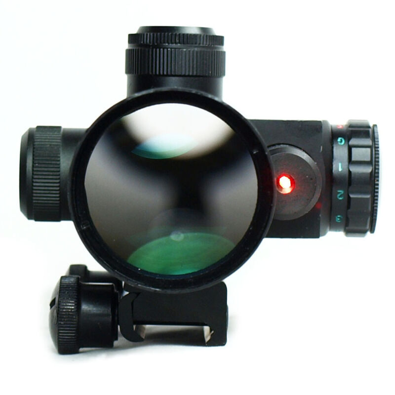 Hunting 2.5-10x40 Tactical Rifle Scope Mil-dot Dual illuminated Red Laser/&Mount
