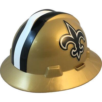 """MSA V-Gard FULL BRIM NEW ORLEANS """"SAINTS"""" NFL Hard Hat Type 3 RATCHET Suspension"""