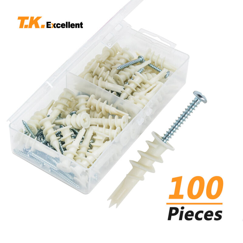 Three Point Plastic Self Drilling Drywall Anchors E8 Size with Screws Kit,100Pcs