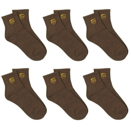 6 PAIR PACK UPS LOGO UNITED PARCEL SERVICE DRIVER BROWN ANKLE LENGTH SOCKS