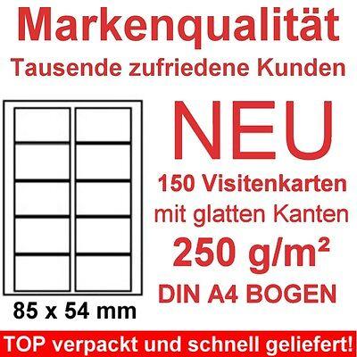 Visitenkarten 250g/m² Papier 150 gestanzte Karten auf DIN A4 zum selber drucken