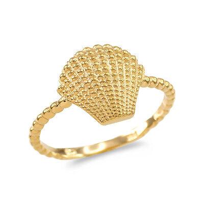 14k Fine Yellow Gold Rope Beaded Band Atlantic Scallop Seashell Ring 14k Gold Seashell Ring
