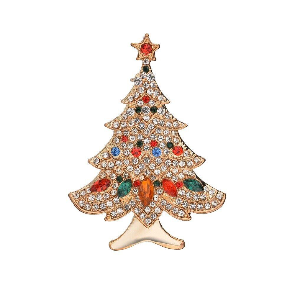 Damen Strass Eingelegt Weihnachtsbaum Brosche Korsage Schal Abzeichen Super