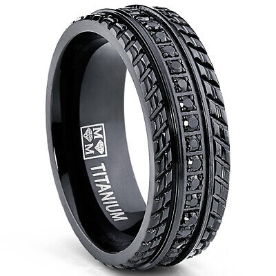 Mens Black Titanium Pave Set Wedding Band Engagement Eternity ring with CZ