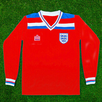 England 1982 World Cup Football Shirt | Retro | Away Shirt | Red | Long Sleeve