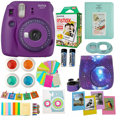 Fujifilm Instax Mini 9 Instant Camera Purple  + 20 Film + Deluxe Full Bundle