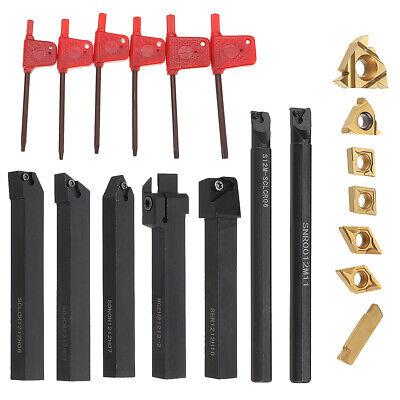Shank Lathe Boring Bar Turning Tool Holder Set With Carbide Inserts 7pcs 12mm