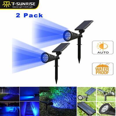Blue Led Spotlight (2x Solar Power 4LED Spotlight Outdoor Garden Patio Lamp Lawn Landscape Lights)