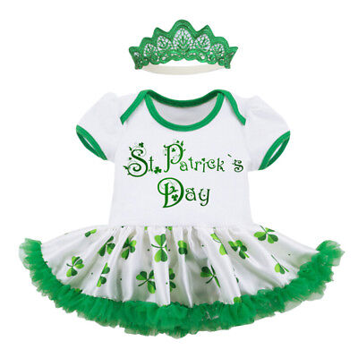 Pretty Toddler Baby Girl St. Patrick's Day Headband+Dress Party Princess Clothes - St Patrick's Day Dress