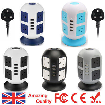 8 Way Switched Surge Protected Tower Extension Lead UK Mains Plug Socket & 4 USB