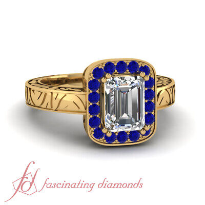 1.25 Carat Halo Style Emerald Cut Diamond And Blue Sapphire Engagement Rings GIA