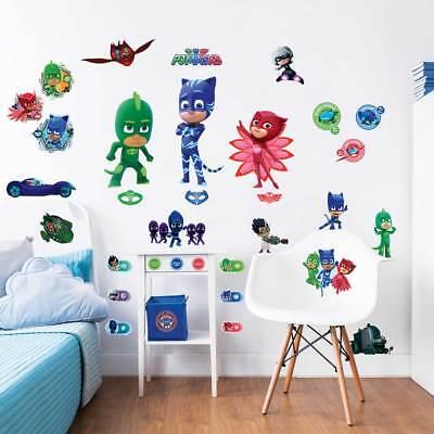 Pyjamahelden Wandsticker Kinderzimmer 33 Stück selbstkelbend (Maske Tattoos)