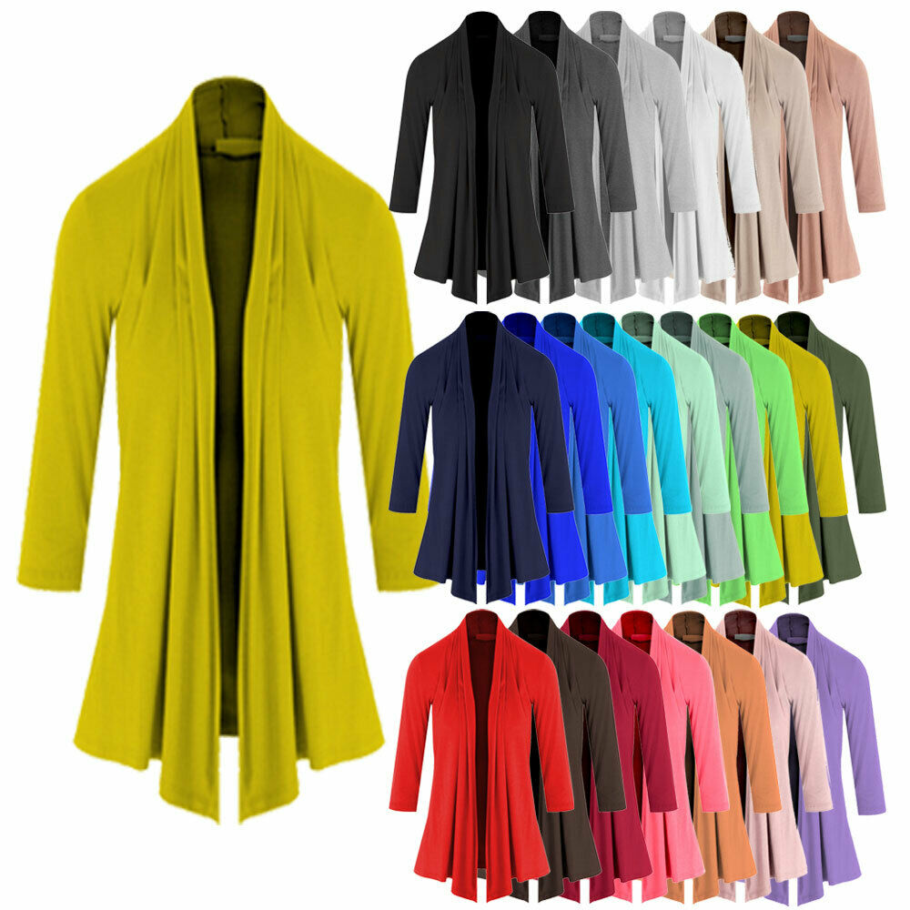 Womens Lightweight 3/4 Sleeve Open Front Cardigan-Made in USA-1189 (S-5X)