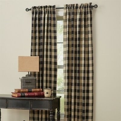 Country Black Wicklow Lined Panel Curtains 72Wx84L Buffalo Check Cotton