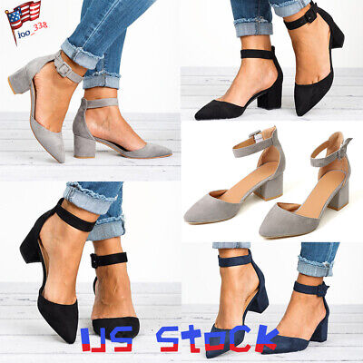 Women Low Block Heel Pointed Toe Casual Ankle Strap Sandals Pumps Shoes Party US